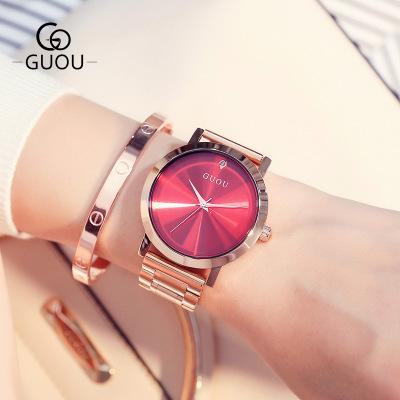 GUOU Ladies Rose Gold Watch Women Famous Brand stainless steel Simple Geneva Watches Women Waterproof Luxury Quartz Watch Uhren genuine watch dom brand luxury women watches waterproof business rose gold stainless steel ladies quartz wrist watch g 36g 1m1