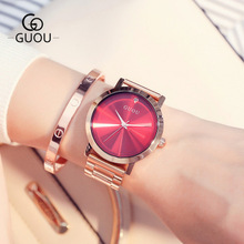 купить GUOU Ladies Rose Gold Watch Women Famous Brand stainless steel Simple Geneva Watches Women Waterproof Luxury Quartz Watch Uhren в интернет-магазине
