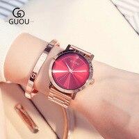 GUOU Ladies Rose Gold Watch Women Famous Brand stainless steel Simple Geneva Watches Women Waterproof Luxury Quartz Watch Uhren