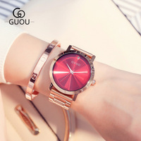 GUOU Ladies Rose Gold Watch Women Famous Brand stainless steel Simple Geneva Watches Women Waterproof Luxury Quartz Watch Uhren