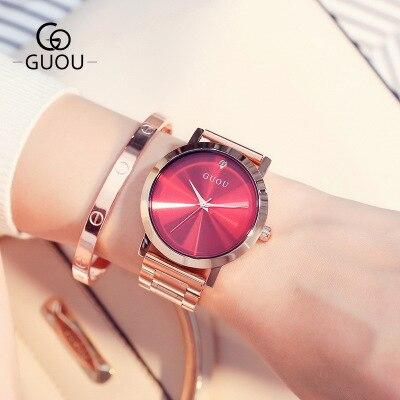 GUOU dames or Rose montre femmes célèbre marque en acier inoxydable Simple genève montres femmes étanche luxe montre à Quartz Uhren
