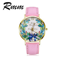 2017 New fashion brand watch women watches Casual quartz watch leather strap Christmas or New Year