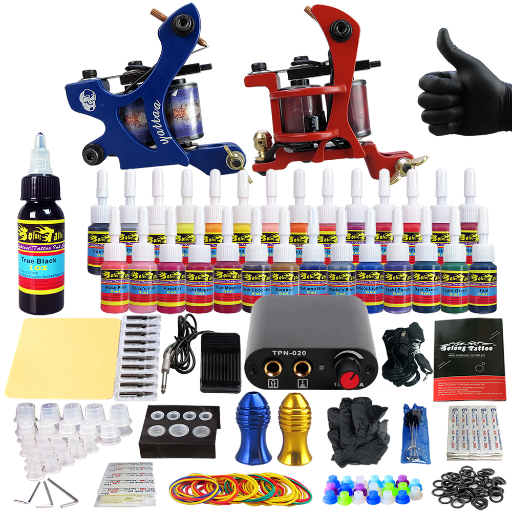 Solong Tattoo complete professional 2 tattoo Machine Guns set Tattoo Kit 28 Inks Needle Grips power supply TK204-33 europe god of darkness robert recommend gp self lock grips gp3 professional tattoo artist grip