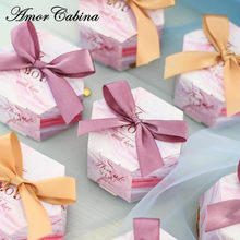 50pcs New small fresh hexagonal pink marble style candy box wedding like gift box baby shower birthday gift bag party supplies(China)