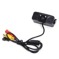 3 IN 1 Video Parking Sensor Car Reverse Backup Rear View Camera With 2 Rada Detector