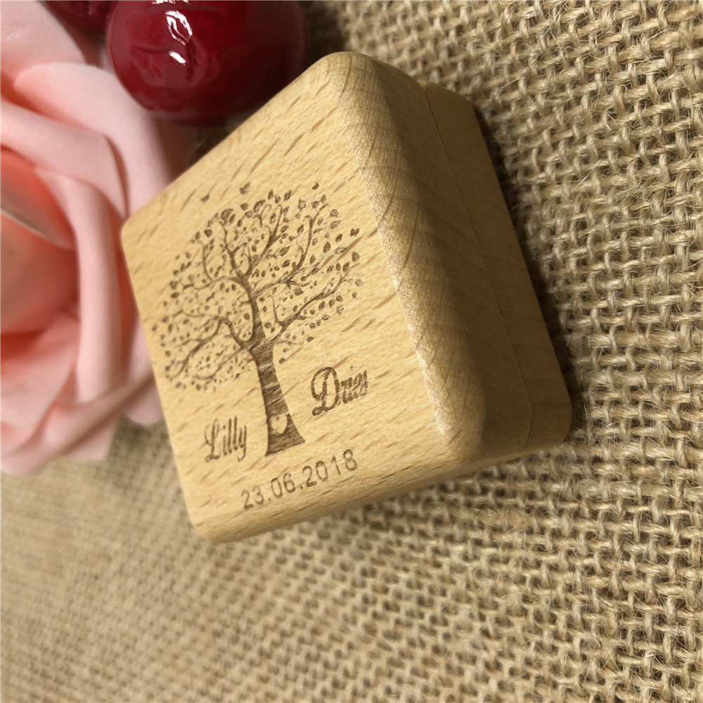 Personalized Ring Box Rustic Wedding Ring Bearer Box Wooden Ring