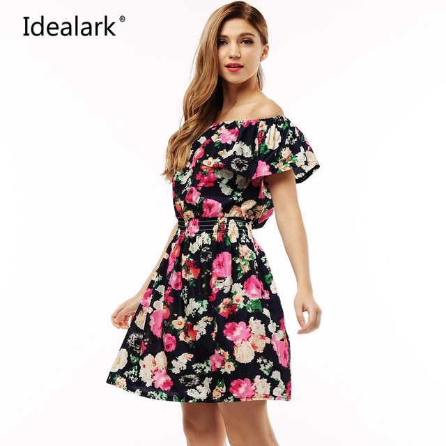 2017 моды новый весна лето плюс размер одежды женщин узор цветочный принт вскользь платья vestidos WC0472