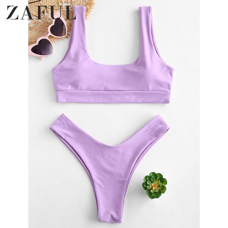 ZAFUL женские сексуальные бикини, купальники, мягкие, с высокой талией, комплект бикини, сплошной, с низкой талией, с овальным вырезом, летний к...