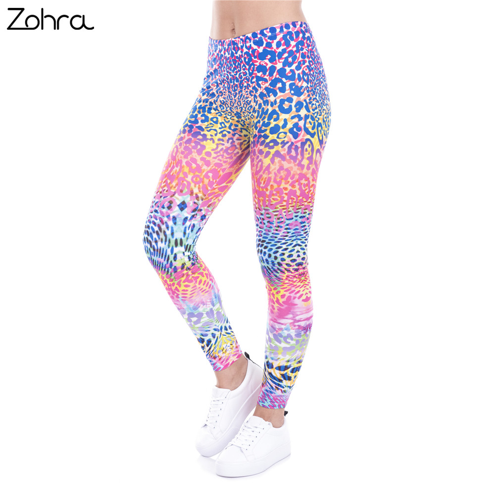 Zohra Hot Sales   Leggings   Colored Leopard Printed   Legging   Fashion Women Sexy Trousers High Waist Women Pants