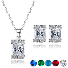 hot deal buy romantic fine bride jewelry sets white zircon crystal necklace pendant earring exquisite pattern jewelry set for women wedding