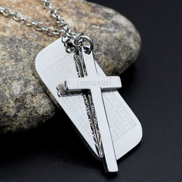 Mens stainless steel cross pendant silver dog tag cross necklace mens stainless steel cross pendant silver dog tag cross necklace english bible epigraph for lords prayer audiocablefo
