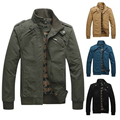 Mens Winter Pure Cotton Washing Bomber Jacket Leisure Solid Stand Collar Flight Jacket Coat Men 4 Colors;chaquetas hombre 2016