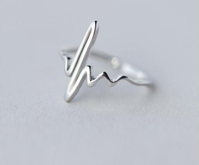 SMJEL Silver Jewelry New ECG Heartbeat Rings for Women Pulse Lightning Open Thum
