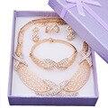 Sistemas de la joyería nupcial nigeriano boda perlas africanas joyería conjunto cristalino del oro plateó la joyería accesorios wedding party AS064