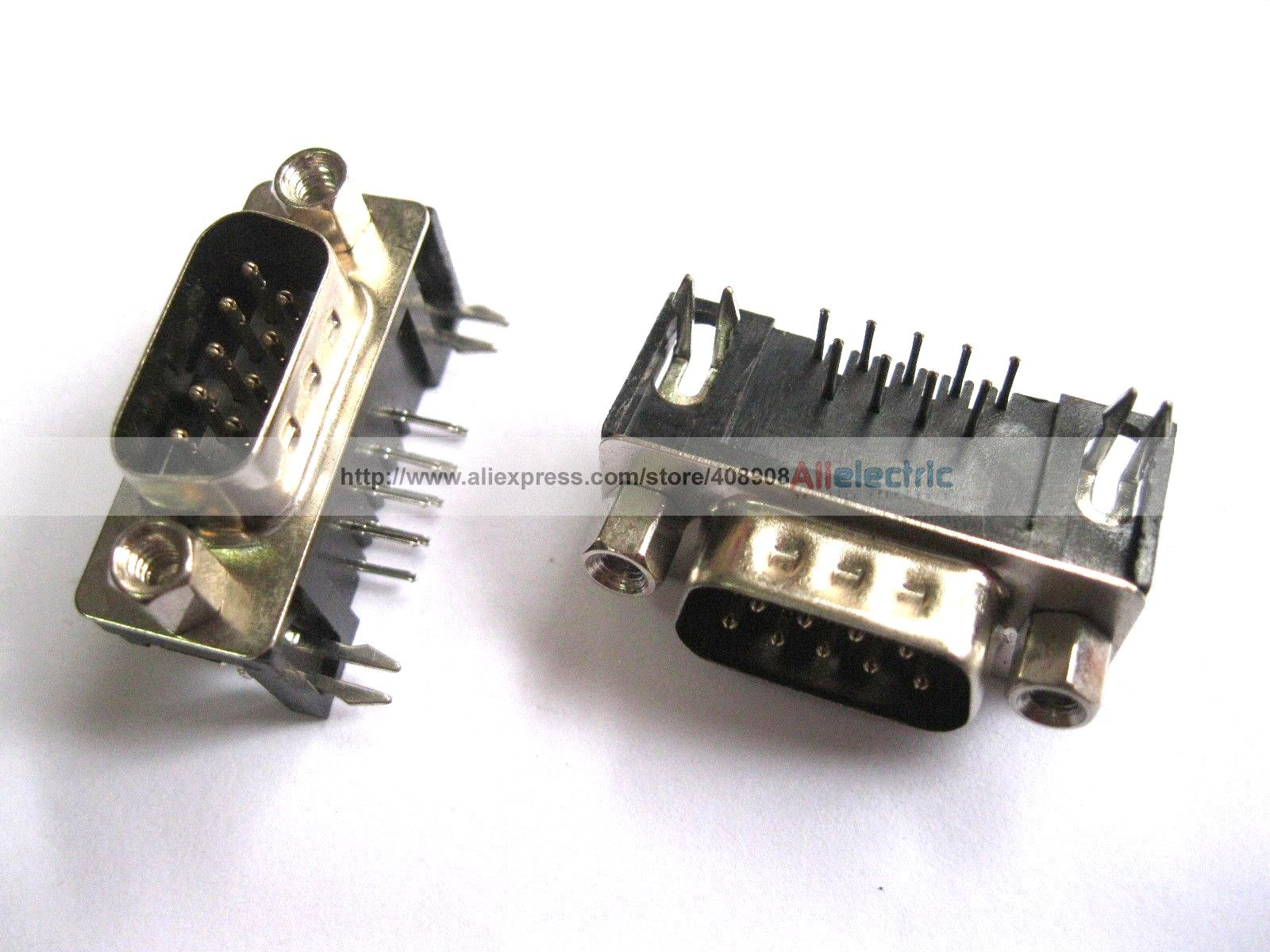 30 Pcs D Sub 9 Pin Male Connector with Right Angle