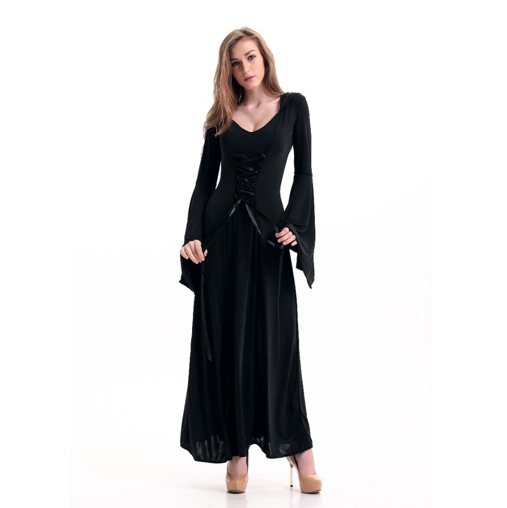 Medieval Dress Black Vintage Style Gothic Dress Floor Length Women ...