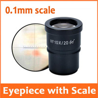 WF10X 20mm Hight Eyepiont Stereo Microscope Eyepiece Lens with 30mm Mounting Size Graduated Reading Scale Reticle Ruler 0.1mm