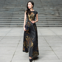 Flare Prom Women Embroidery Flowers Vintage Evening Party Long Dresses Ladies O Neck Maxi Gown Princess Dresses DL1091