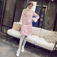 Розовое элегантное женское Qipao осень зима плотное теплое китайское платье традиционное ручной работы кнопка хлопок мягкий Cheongsam s m l xl
