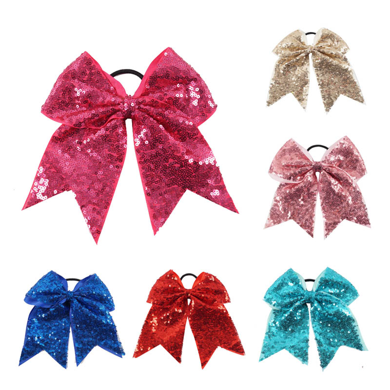 2Pcs/lot 8'' Large Sequin Cheer Bows With Elastic Bands Boutique Girls Ribbon Cheer Bow With Full Sequin Bling Hair Accessories 6pcs lot 7 inch sequin bling large cheer bowknot elastic hair band girls cheerleading for girl