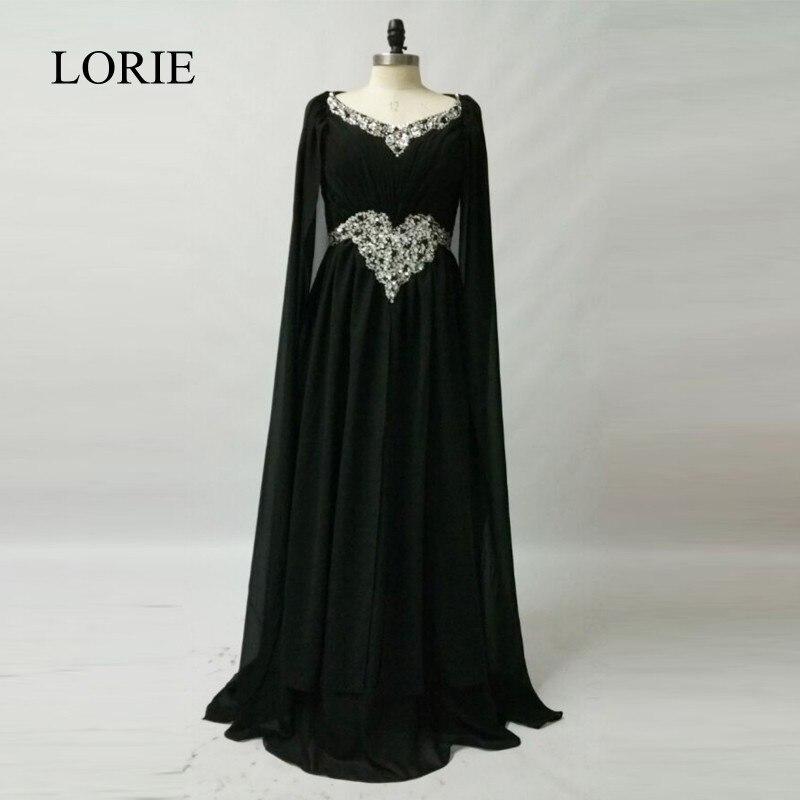 Dubai Kaftan Evening Dresses 2018 Robes De Soiree Longue Black Chiffon Long Prom Party Dresses Muslim Abaya in Dubai