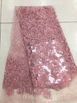 ab001-6 #5yards dirty pink sequin embroidery new tulle mesh lace fabric for wedding dress/evening dress,ship by dhl