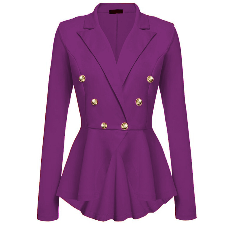 Spring Autumn Women Slim Coat New 2018 Plus Size Casual Jacket Long Sleeve Double Breasted Suit ...