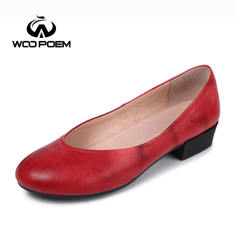 ФОТО WooPoem Spring Autumn Shoes Women Breathable Cow Leather Flat Comfortable Low Heel Flats Shallow Female Casual Shoes W17F7714G