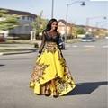 Africano Alto Bajo Falda Patrón de 2017 la Longitud del Piso del Estilo Bohemio Longitud del Piso Faldas Para Las Mujeres Impreso Falda Larga Para Las Mujeres