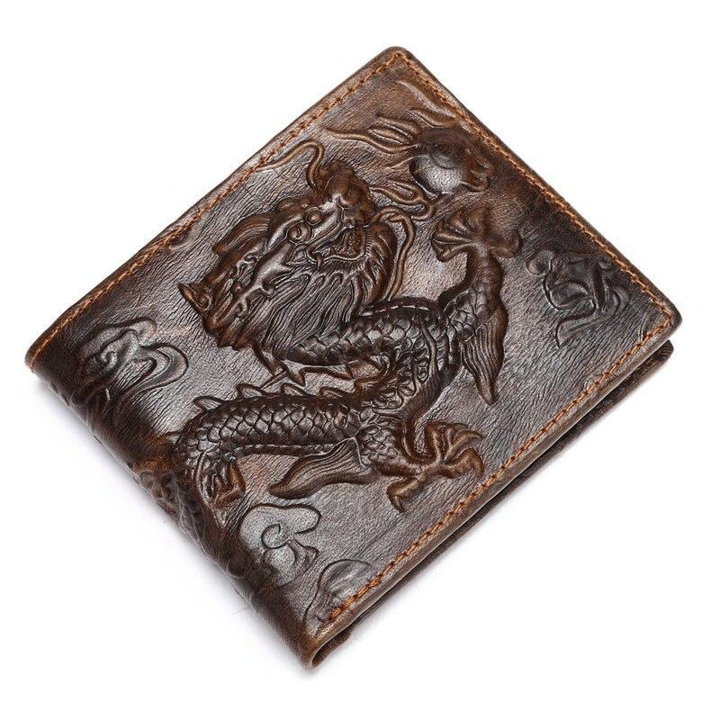 2018 Chinesische Drache Real Echtes Leder Männer Geldbörsen Marke Hohe Qualität Design Brieftasche Münze Tasche Karte Halter Bifold Männlichen Geldbörse HeißEr Verkauf 50-70% Rabatt