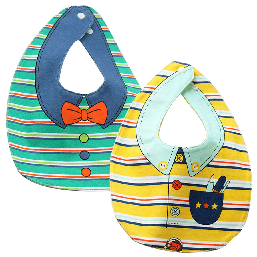 2Pcs/lot Twin Baby Bibs Baberos Cotton Soft Baby Accessories Cute Cartoon Bib Character Prints Bandana Bibs Toddler Burp Clothes