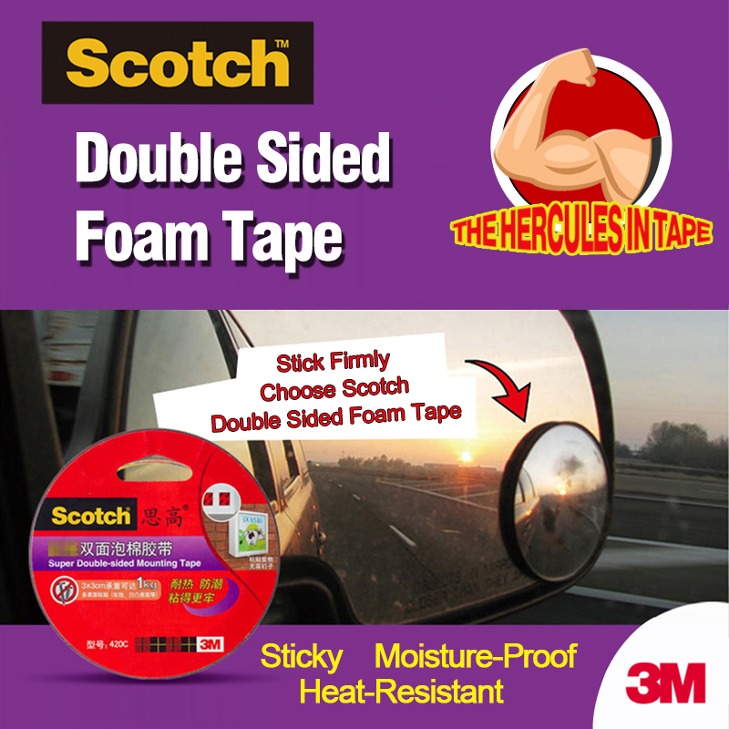 3M Scotch Strong Adhesive Sponge Powerful Foam Double-Sided Tape Black High Efficiency Mounting Tape Office School Supplies 420C 10m super strong waterproof self adhesive double sided foam tape for car trim scotch