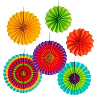 Fiesta Colorful Paper Fans Round Wheel Disc Southwestern Pattern Design For Party Event Home Decoration Set