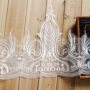 598ae39b5bb3 2 yars lot off blanco elegante bordado encaje vestido de novia pelo  accesorio hecho a mano DIY materiales laciness 34 cm