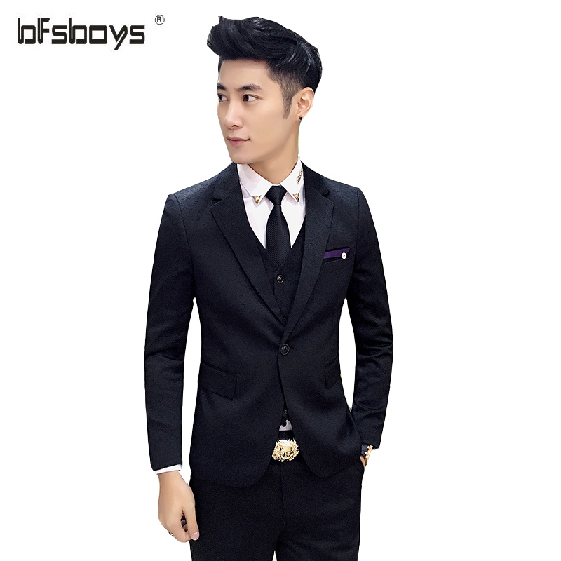 (Jacket+Pants+Vest)2017 New Fashion Men One button slim Brand Black and white jacquard dress business suit SJT006