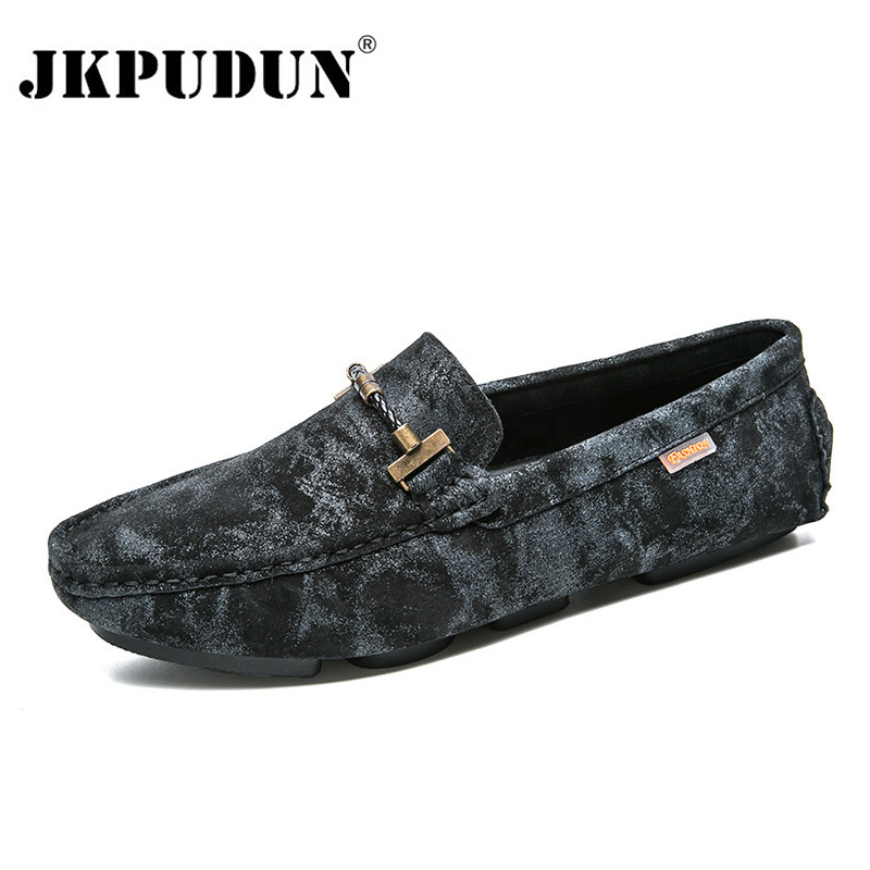JKPUDUN Genuine Leather Men Shoes Luxury Brand Loafers 2018 Italian Camouflage Mens Shoes Casual Black Slip On Moccasins Flats