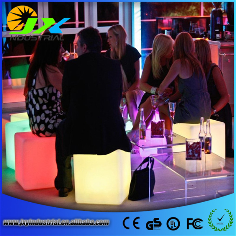 Wireless remote Free shipping America Style led RGBW cube chairs/ Led rechargeable outdoor chairs /waterproof colors changeable 20cm rgbw color waterproof illuminose square cube led bar decorative lighting cube lamps free shipping 1pc