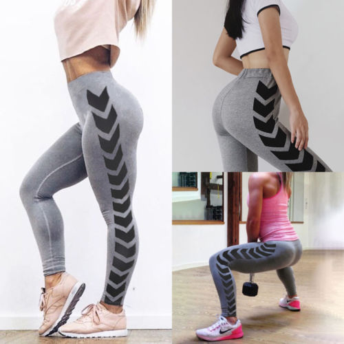 New Fashion High Waisted Women's Grey Fitness Leggings Stretch Luxuriously Smooth Pants Premium Trousers