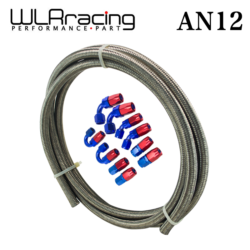 WLRING - AN12 STEELNESS/STEEL BRAIDED 5M AN12 STAINLESS OIL/FUEL OIL LINEline + 12AN Fitting 12-AN Hose End Adaptor KIT WLR7115+