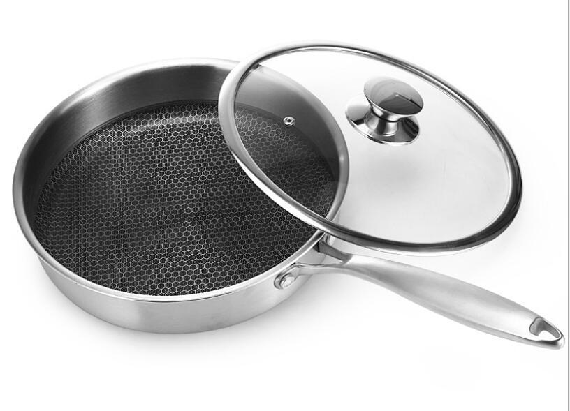 Cuisinière à Induction gaz général 304 en acier inoxydable poêle antiadhésive ustensiles de cuisine poêle à vapeur frite Steak Pot 28 CM