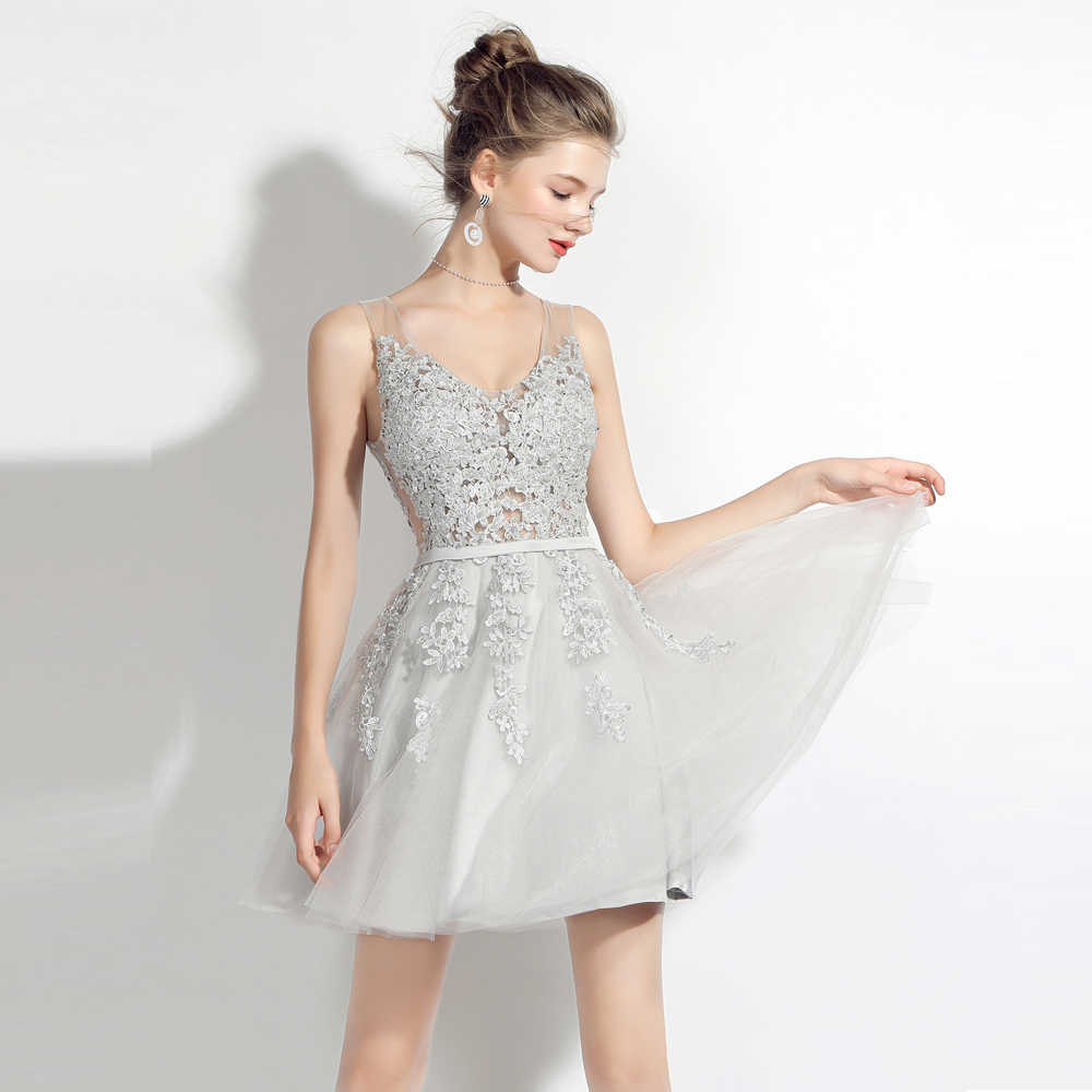 BeryLove Short Grey Homecoming Dresses 2018 Mini V Neck Beaded Lace Tulle Homecoming  Gowns Lace- 37b1f652bc95