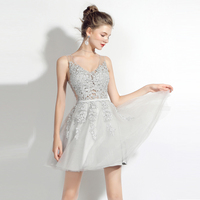 BeryLove Short Grey Homecoming Dresses 2018 Mini V Neck Beaded Lace Tulle Homecoming Gowns Lace Up Graduation Dresses Plus Size