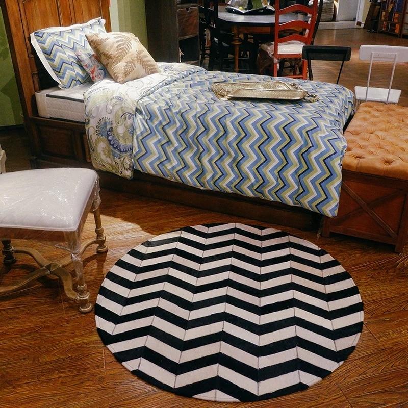 Tapis de peau de vache naturelle de style américain rond, tapis de fourrure rayé noir pour tapis de décoration de chambre à coucher de salon