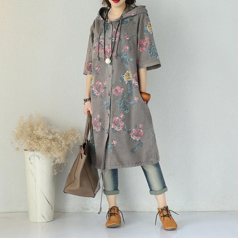 Summer Autumn New One Piece Dress Women Vintage Short Sleeve Loose Dress Flower Print Hooded Dress ...