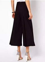 Women 'S Fashion Solid Color Black /White Loose Capris Pants Ol Cropped Trousers Gaucho Retro High Waist Wide Leg Pants striped high waisted gaucho pants