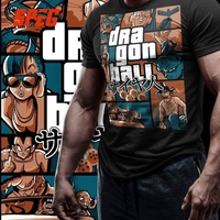 Grand Theft Dragon Ball Z GTA T Shirt Super Saiyan Men 100 Cotton Clothing Short Sleeve