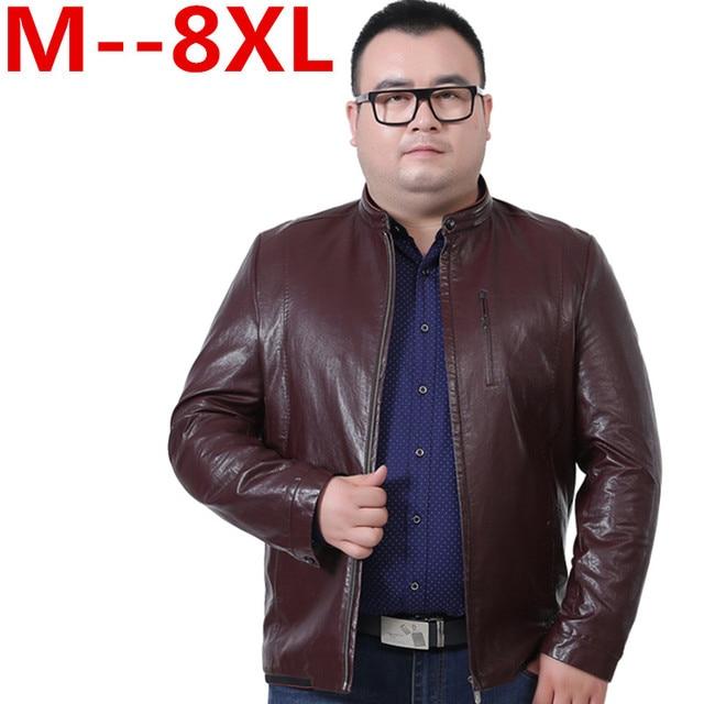 Plus size 10XL 9XL 8XL 6XL 5XL Brand Men Leather Jacket For Men Real Matte  Goat Skin Jacket Black Male Leather Coat Autumn BIG a00e719add91