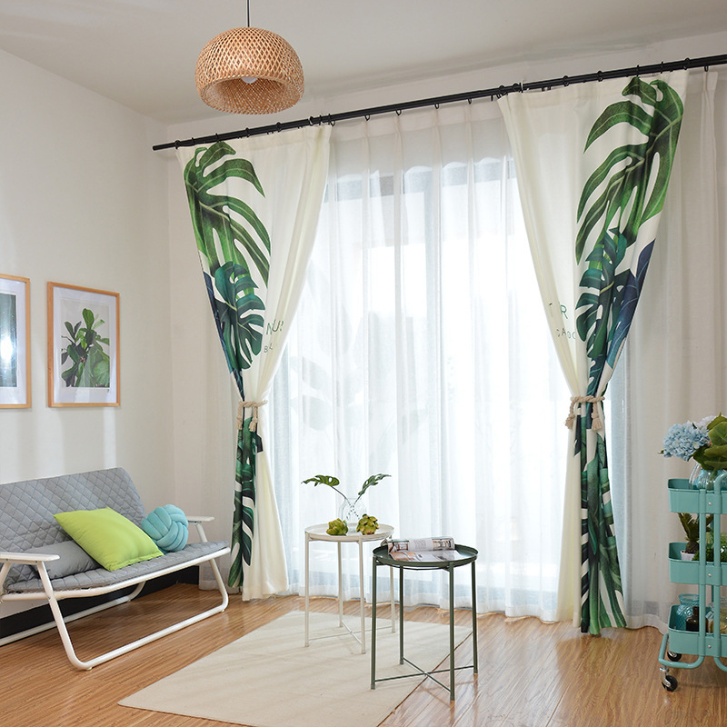 Modern Elegant Green Plant Leaves Print Curtains Shade Thermal Insulated Living Room Bedroom Blackout In From Home Garden On Aliexpress