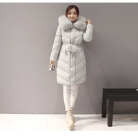 2017 New Woman Parkas Winter Jacket Women Cotton Padded Thick Ultra Light Long Coat Faux Fur Collar Hooded Female Jackets For