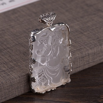 Thai silver buckle bat xiangyun lace package with white crystal pendant guan gong